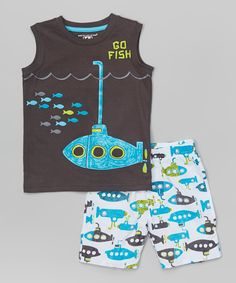 Look at this Kids Headquarters Gray 'Go Fish' Tank & Blue Boardshorts - Infant, Toddler & Boys on today! Toddler Boy Outfits, Toddler Fashion, Toddler Boys, Boy Fashion, Kids Outfits, Infant Toddler, Teen Boys, Primark Kids, Kids Headquarters