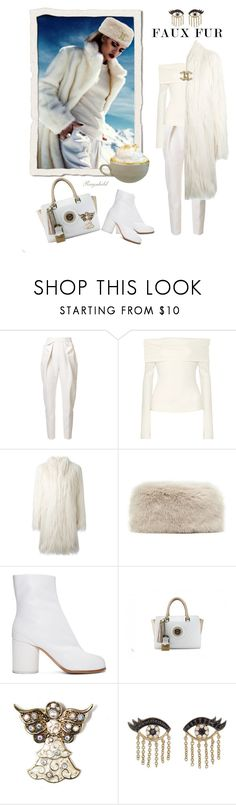 """""""Faux Fur Coat💙"""" by ragnh-mjos ❤ liked on Polyvore featuring Delpozo, The Row, Giamba, Maison Margiela, Mixit, Sydney Evan and Chanel"""
