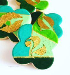 "2016 Sugar cookies by Tammy Holmes. #chic #monochromatic #green #emerald #gold #modern #trendy #desserts #sugar #cookies #icingcookie  #newyears2016 #chicsweets #emeraldgreen #shadesofgreen"""