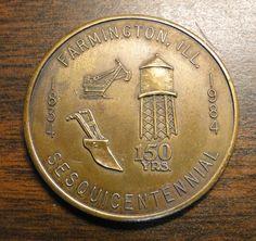 Farmington IL Sesquicentennial Token Medal Coin (1834 - 1934) - Bank Of Farmington IL Advertising Sesquicentennial Token Medal Coin - Brass by EagleDen on Etsy