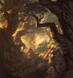 Game Inspo 51 Enigmatic Forest Concept Art That Will Amaze You Landscape Concept, Fantasy Landscape, Landscape Art, Landscape Architecture, Fantasy Places, Fantasy World, Fantasy Kunst, Fantasy Art, Digital Art Illustration