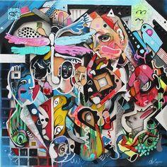 """Superposition"" Artist: DANIEL DALOPO Multilayered 3D Oil con Canvas 100cm x 100cm"