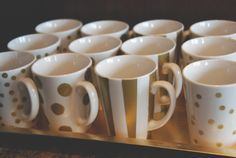painted gold mugs. kate spade bridal shower.