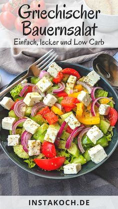 Greek farmer's salad - simple low carb recipe - ready in 20 minutes Sauce Tzatziki, Low Carb Recipes, Healthy Recipes, Wine Country Gift Baskets, Best Food Ever, Clean Eating, Good Food, Veggies, Food And Drink