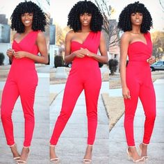 ✨ @kiitana ✨, And my obsession with red and nude continues. Jumpsuit - Asos#Hair2mesmerize #naturalhair #healthyhair #naturalhairjourney #naturalhairstyles #blackhairstyles #transitioning