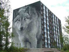 The Wolf mural is the Spirit Way banner project, focuses on the wolf theme as a metaphor for respect- for self, for nature and community; a monumental mural re-creation of a Robert Bateman drawing, where the wolf looks on Ê Canadian Things, Star Wars, 3d Street Art, Building Art, Design Art, Urban Design, Urban Art, Home Art, Art Projects