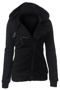 Black Casual Hoodie With Irregular Zipper