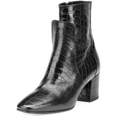 Givenchy Paris Croc-Embossed Leather 60mm Boot (7,970 CNY) ❤ liked on Polyvore featuring shoes, boots, black, square toe boots, black square toe boots, black block heel shoes, kohl shoes and givenchy boots