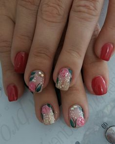 New fails art flores watches ideas Red Nail Designs, Nail Polish Designs, Spring Nails, Summer Nails, Hair And Nails, My Nails, Uñas Diy, Nail Polish Style, French Nails