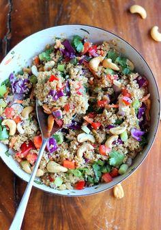 #Recipe: Crunchy Cashew Thai #Quinoa Salad with Ginger Peanut Dressing