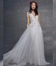 c051339f Marchesa Notte Spring/Summer 2019 tulle wedding dress plunging v-neck and  floral appliques