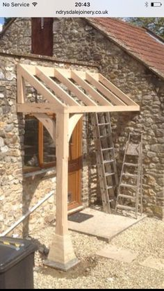 Porch construction - Woodworking Diy - Porch construction Porch construction The post Porch construction appeared first on Woodworking D - Porch Awning, Front Door Awning, Door Overhang, Building A Porch, Door Canopy, Porch Canopy Ideas, House With Porch, Pergola Designs, Porch Designs