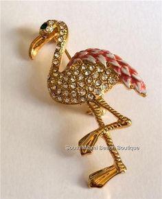 Gold Flamingo Pin Brooch Pink Enamel Austrian Crystals Island Bird USA Seller #SouthMiamiBeachBoutique