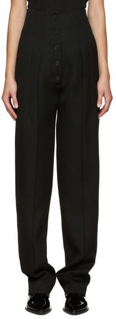 Victoria Beckham Black Pleated Wool Trousers