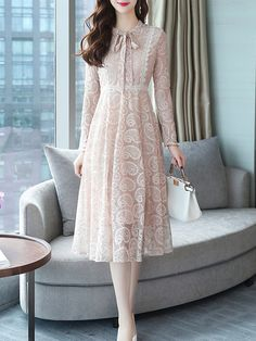 M-XXL Solid Color Long-sleeved Lace Dress 2018 Women's Autumn Gown Sweet Bow Collar Vintage Robe High Waist Slim Party Vestido Stylish Dresses, Simple Dresses, Elegant Dresses, Casual Dresses For Women, Pretty Dresses, Vintage Dresses, Classy Outfits, Beautiful Outfits, Modest Fashion