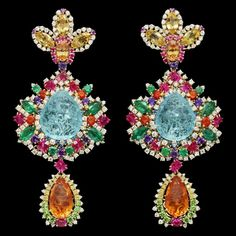 The  'Dentelle Chantilly Multicolore' earrings from the Dear Dior fine jewelry collection designed by Victoire de Castellane