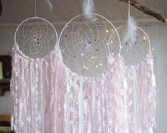 Pink Dreamcatcher set 3 pieces, Wall hanging catchers set, Bohemian wedding, Wedding dream catchers set, Boho wedding decor, Baby shower