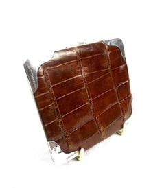 d22469dbd86d Antique Crocodile Skin Leather And Hallmarked Sterling Silver Gents Wallet