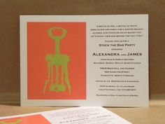Fun / Modern Wine Cork Screw / Stock the Bar / Rehearsal Dinner / Birthday Party / Couples Shower / Printed Darby Cards Invitation. $2.00, via Etsy.