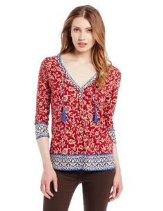 Lucky Brand Women's Anderson Border Print Top