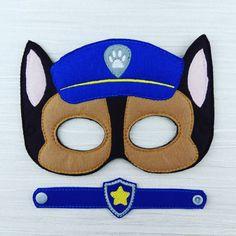 Chase Police Dog Hero Felt Mask & Bracelet Set for Birthday Party favor Fancy Dress Up Pretend Play Halloween by AHeartlyCraft on Etsy