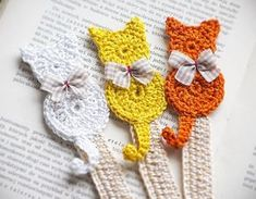 Set of 3 handmade bookmark/Handmade crochet by CatANeedle on Etsy