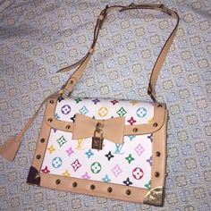 Cute studded purse/ON HOLD Real leather. Has few unknown pink smudges on the outside. Leather is not in best condition (on the outside corner) otherwise, gorgeous purse! Has gold studs with lock and key. Bags Shoulder Bags