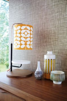 Orla Kiely wallpaper - neutral and stylish. Great for a retro look in your home.