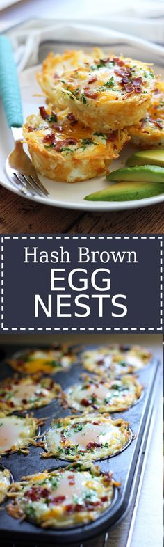 Hash Brown Egg Nests with Avocado Shredded hash browns and cheese nests baked until crispy topped with a baked eggs, crumbled bacon and more cheese. Served with chilled avocado slices. Breakfast Dishes, Breakfast Time, Breakfast Recipes, Breakfast Casserole, Breakfast Muffins, Breakfast Hash, Mexican Breakfast, Breakfast Sandwiches, Breakfast Ideas With Eggs