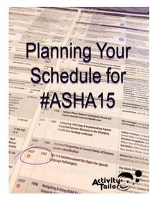 SLP Corner: Creating a Great Schedule for #ASHA15- pinned by @PediaStaff – Please Visit ht.ly/63sNtfor all our pediatric therapy pins