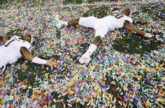 Aggies celebrate after the Cotton Bowl 2013. Confetti angels!  This is awesome!