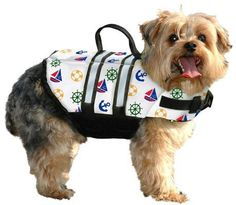The Nautical Dog Life Jacket is great for Small or Large dogs. Designer inspired with multi-color designs imprinted on the vest. The Paws Aboard dog life jacket keeps your dog safe on the water. Const