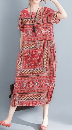 Women loose fit plus over size ethnic pocket dress maxi tunic Bohemian Boho chic #unbranded #dress #Casual