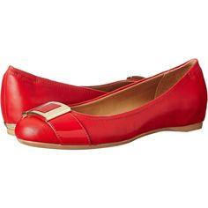 Calvin Klein Madeline Women's Shoes, Red ($70) ❤ liked on Polyvore featuring shoes, flats, red, round toe flats, calvin klein footwear, red shoes, red flat shoes and buckle shoes