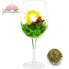 This blooming tea is a wonderful combo of hand-tied with White Tea Maofeng with eight Jasmine Flowers in the center. Similarly, this special tea has a unique appearance. Perfect Date, Teas, White Wine, Jasmine, Wine Glass, Alcoholic Drinks, Bloom, Tableware, Unique