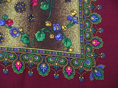 russian scarf Soviet Floral Shawl Vintage Ukrainian Romanian