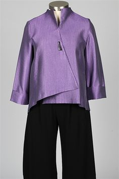 cb338d1517113 I.C. Collection - Single Button Ribbed Jacket - Purple