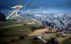 Peter Prevc of Slovenia soars through the air during his practice jump