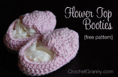 Insanely Cute Baby Booties - These crocheted booties aren't like the others. The top of the booties is made out of a six-pedal flower that gets sewn to the outer top part of the sole. These are too cute not to crochet.