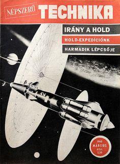 "Solar sails gathering near Titan, Saturn's biggest Moon - cover of a hungarian ""Popular Technics"" sci-fi magazine, March 1960"