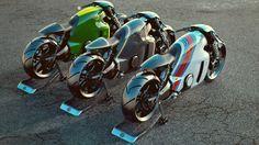 Lotus, sport bike, motorcycle, three, green, carbone, white, 3d