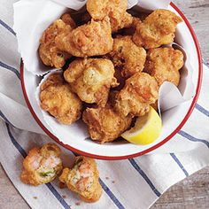 Shrimp-and-Okra Hush Puppies   Recipe I'm making for our gourment food club's New Orleans night!