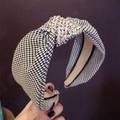 Buy Haimeikang Luxury Rhinestone Top Knot Hairband Headband for Women Elegant Plaid Pattern Hair Band Hoop Accessories Head Wrap Headband, Turban Headbands, Diy Headband, Headband Hairstyles, Diy Hairstyles, Fashion Hairstyles, Fabric Headbands, Hair Accessories For Women, Fashion Accessories