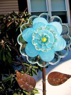 yard art glass plate flower upcycled art garden by ADelicateTouch1