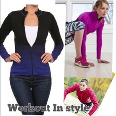 "Jacket -blue Great for workout or casual wear iPhone or just for walk . Pink color is just to show you the looks . Actual color is Blue( shown in last pic ) . Tag says OS. Pit to Pit measures 12.5"" lying flat with length measures 21"". Jackets & Coats"