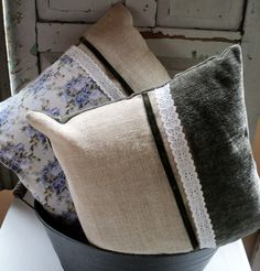 Rustic Crafts, Sewing Pillows, French Interior, Decorative Cushions, Soft Furnishings, Fabric Crafts, Interior And Exterior, Burlap, Decluttering