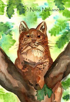 Lynx Original Watercolor Painting Wildlife Animal Big Cat Bobcat Artwork Nature Art Watercolor Feline Wall Art Home Decor by Niina Niskanen Wildlife Paintings, Animal Paintings, Original Artwork, Original Paintings, Mystical Animals, In The Tree, Paintings For Sale, Spirit Animal, Figurative Art