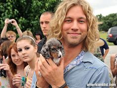 American Idol Contestant Casey James and the Silver Dachshund