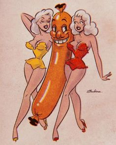 Someone said that hot dog is too simple and obvious for my 🌭 Did you expect something like this? Vintage Pop Art, Vintage Cartoon, Vintage Comics, Retro Art, Cartoon Art, Pop Art Drawing, Art Drawings, Retro Illustration, Illustrations
