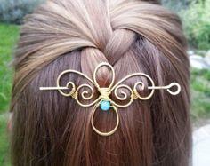 Metal hair barrette Celtic knot hair clip Rustic por FineMetalDust